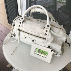Balenciaga white crinkle handbag